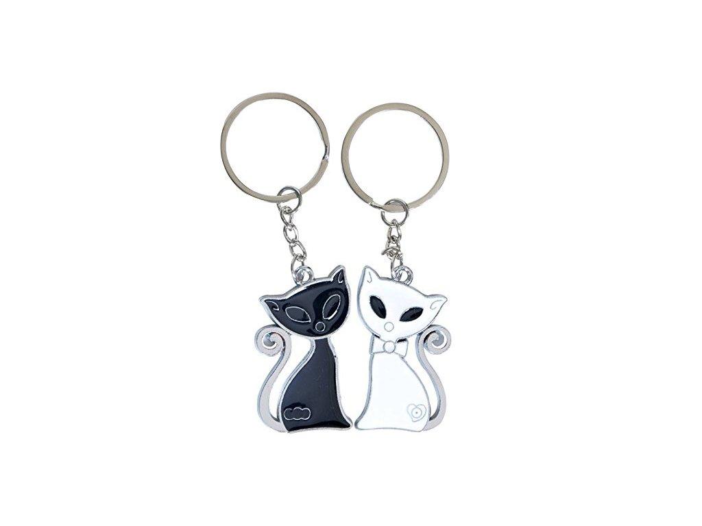 ef8ada814 Prívesky na kľúče pre dvoch, čierna a biela mačka