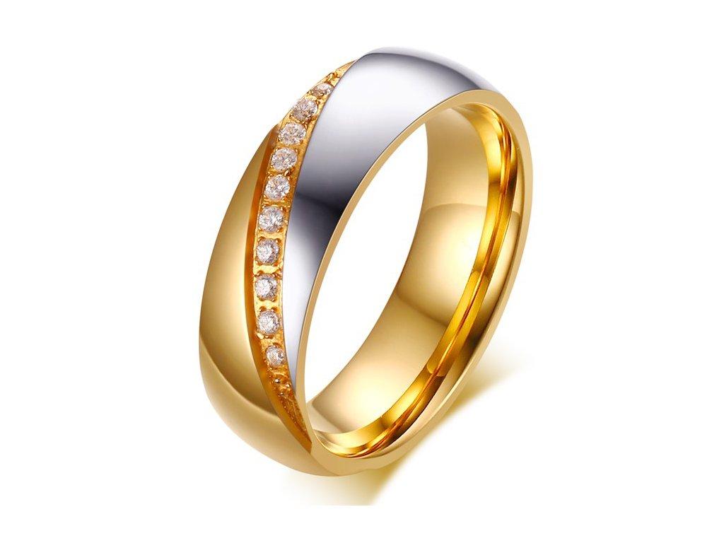 04721dc43 Dámska svadobná obrúčka z chirurgickej ocele, zlatá a strieborná farba,  číre zirkóny