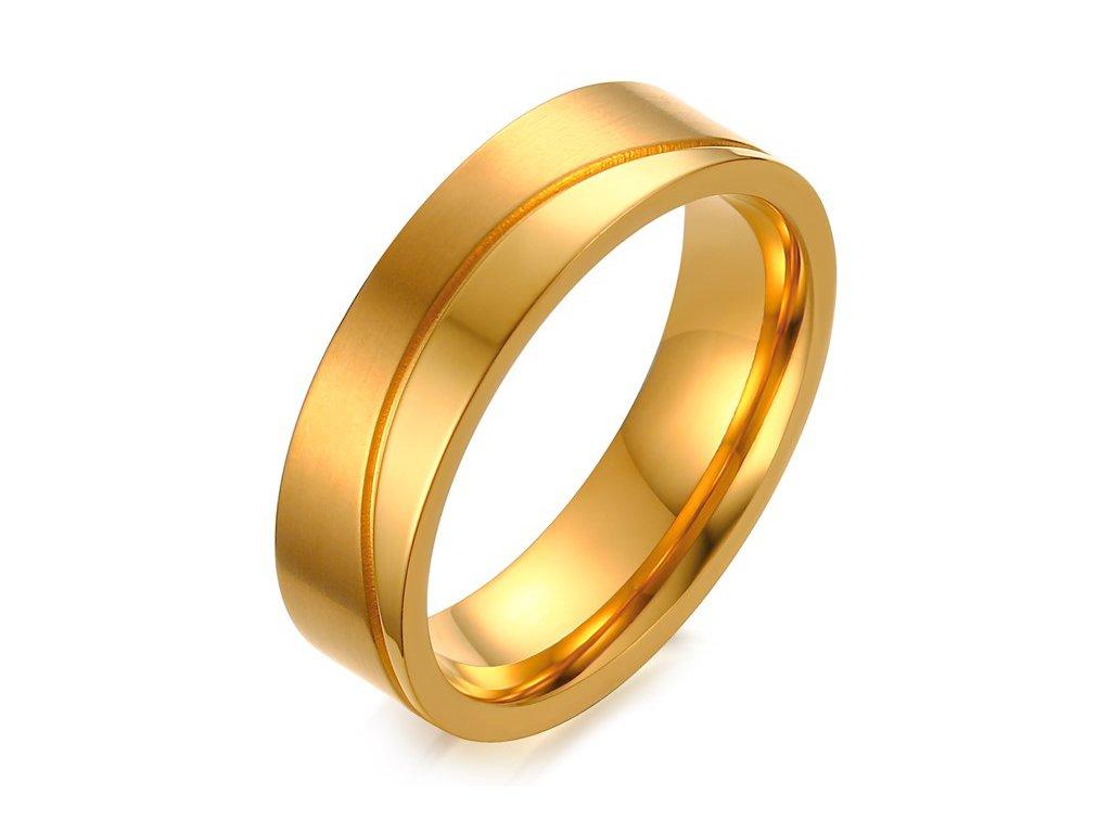 dacbb185b Pánska svadobná obrúčka z chirurgickej ocele, zlatá farba, vlnka