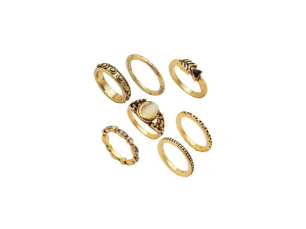 7e894f090 Set prsteňov pre ženu, zlatá farba, kamienky - 7 prsteňov