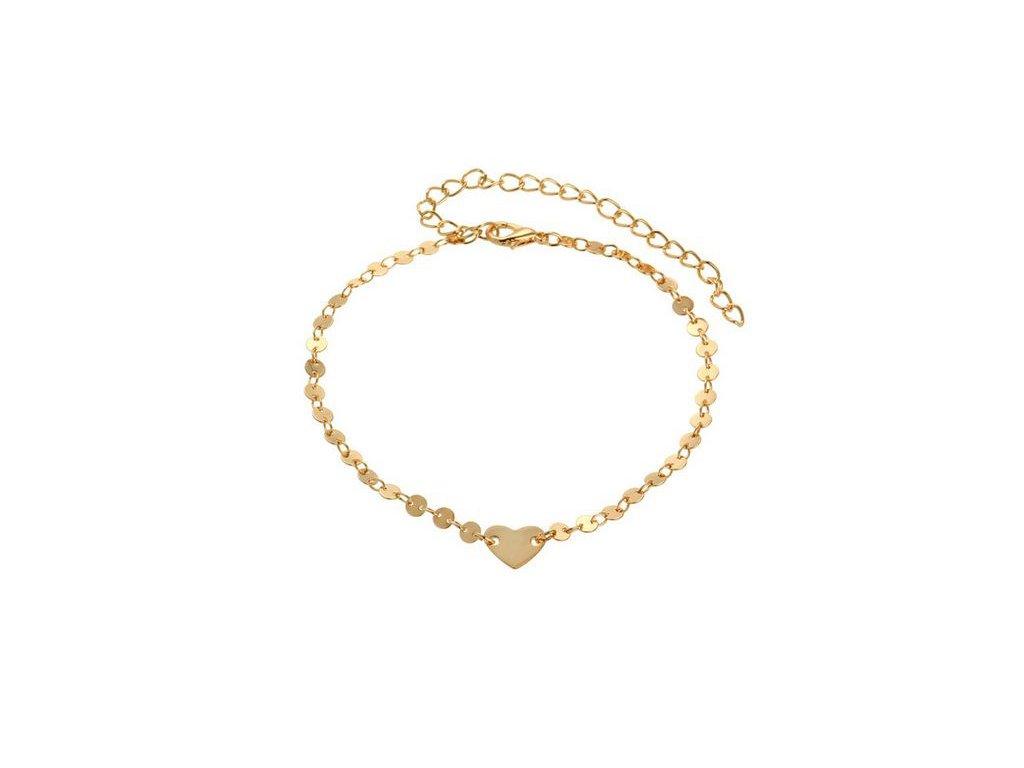 a4381b416 Retiazka na nohu pre ženu, zlatá farba, kolieska a srdce - bižutéria