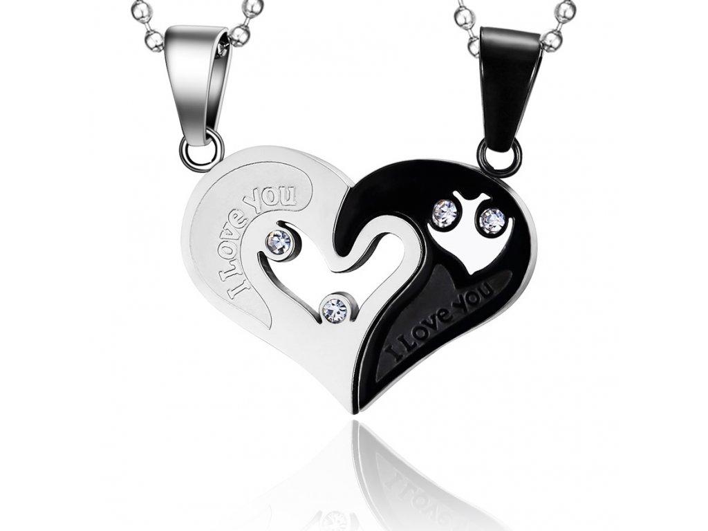 685ed40a9 Prívesok pre dvoch z ocele, srdce z nápisom - čierna a strieborná farba