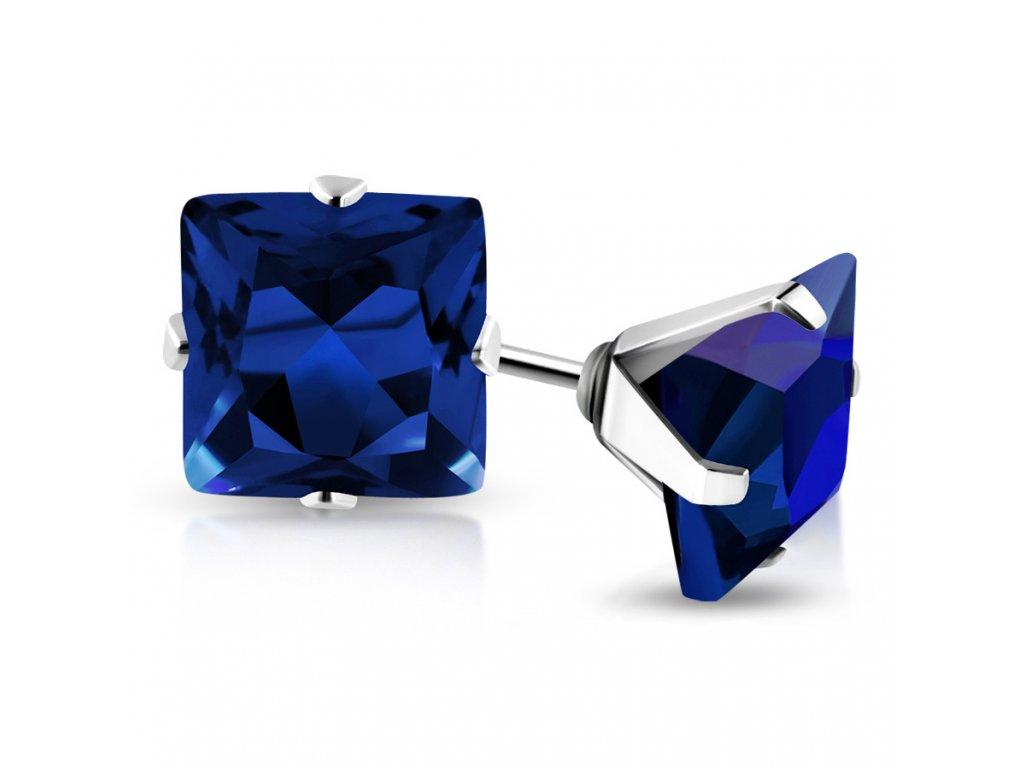 59e9d5bab Náušnice so zirkónom, chirurgická oceľ, štvorec modrej farby - 6 mm -  Stella Šperky Eshop