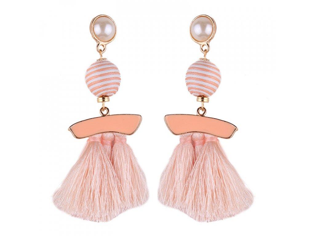498639de1 Dámske náušnice so strapcami, ružová glazúra, béžová farba - bižutéria