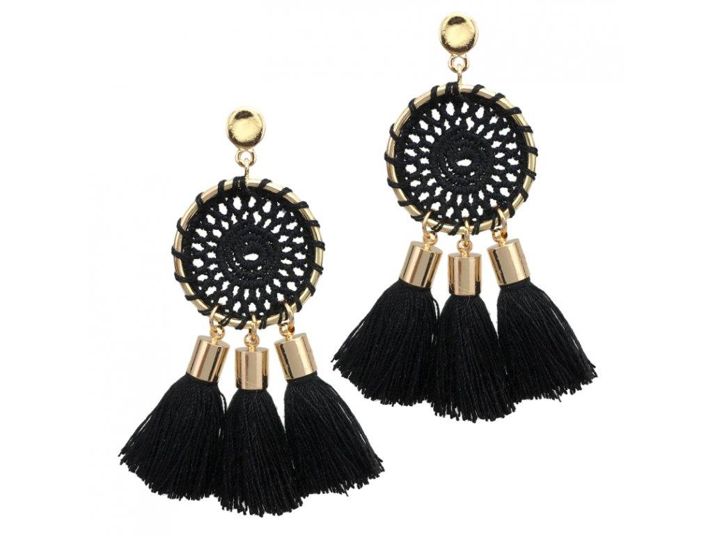 6ddd3cc48 Náušnice pre ženu so strapcami, lapač snov čiernej farby - bižutéria