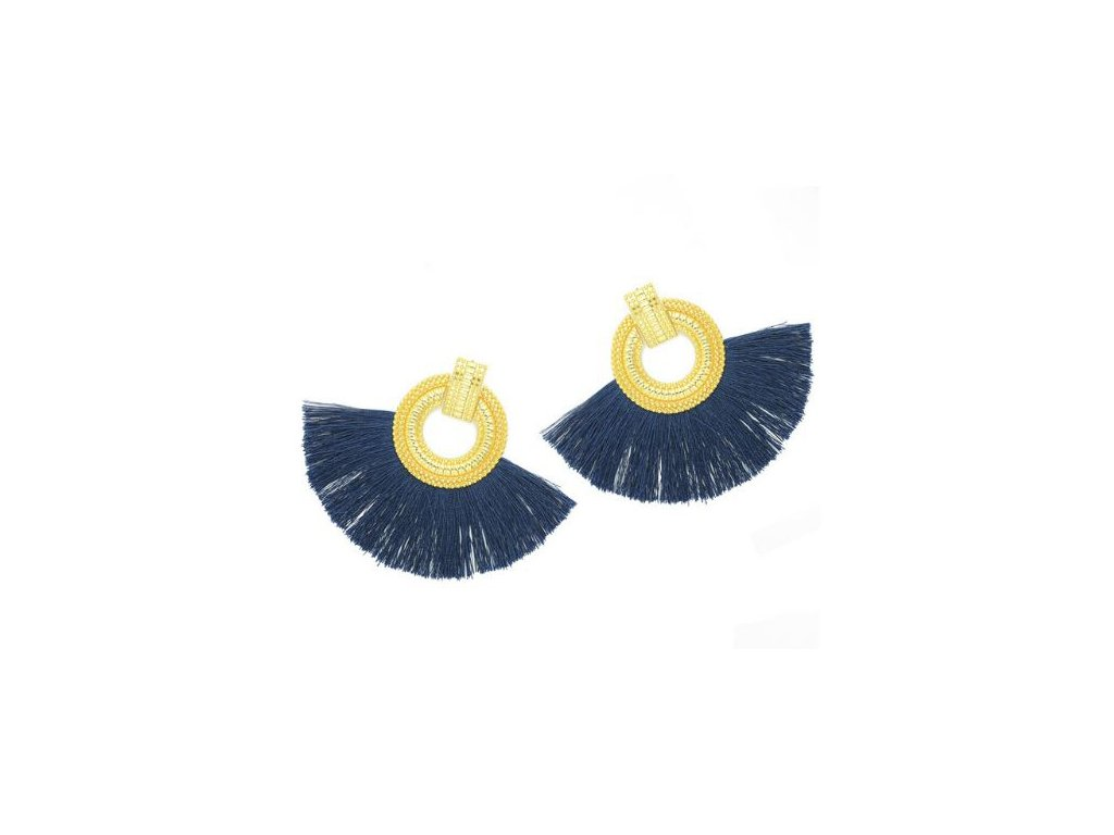 158323583 Dámske náušnice so strapcom, tmavomodrá a zlatá farba, kruh - bižutéria