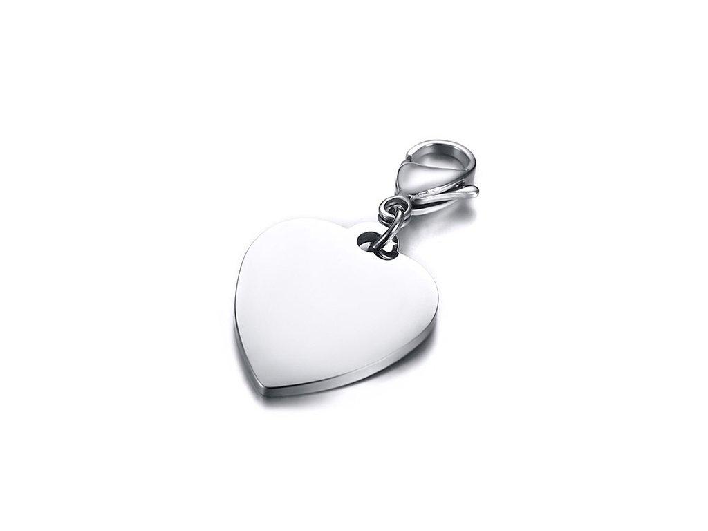 c1c003b11 Prívesok srdce z chirurgickej ocele, karabínka, známka 25x21 mm