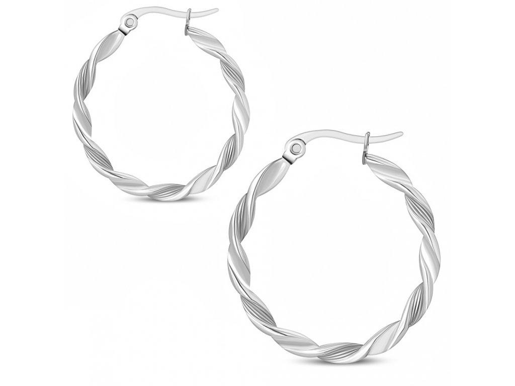 Stočené náušnice kruhy z chirurgickej ocele, strieborná farba 25 mm