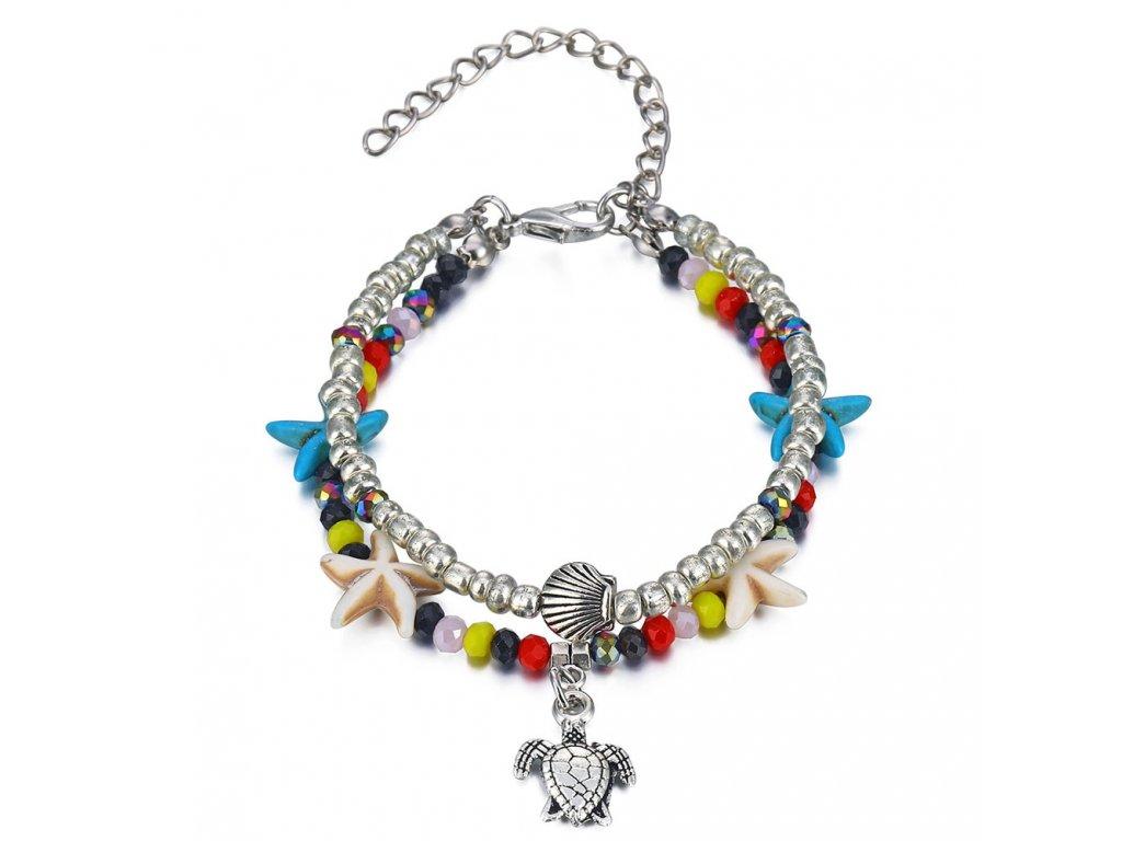 d66620b73 Dvojitý náramok na nohu, farebné korálky, hviezdovky, prívesok korytnačka -  bižutéria