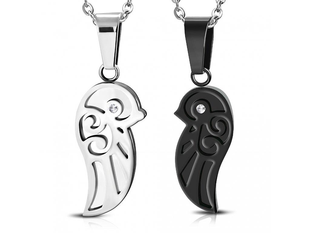 Prívesok pre dvoch z ocele, krídlo čiernej a striebornej farby, číry zirkón (1)
