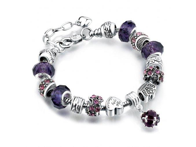 Dámsky náramok z príveskami, fialový, bižutéria