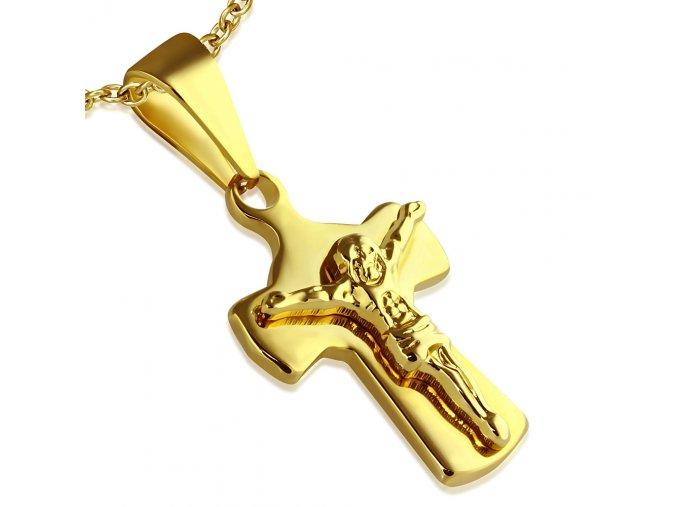Prívesok kríž zlatej farby, chirurgická oceľ, Ježiš