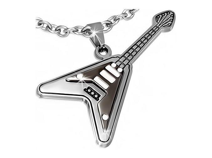 Prívesok na krk, rocková gitara z chirurgickej ocele