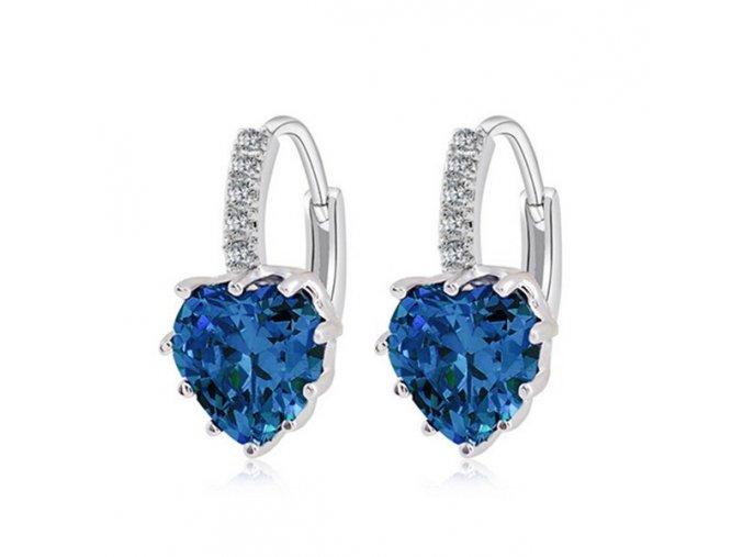Dámske zirkónové náušnice, modré srdce, bižutéria