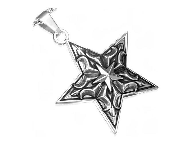 Prívesok na retiazku, patinovaná hviezda z chirurgickej ocele