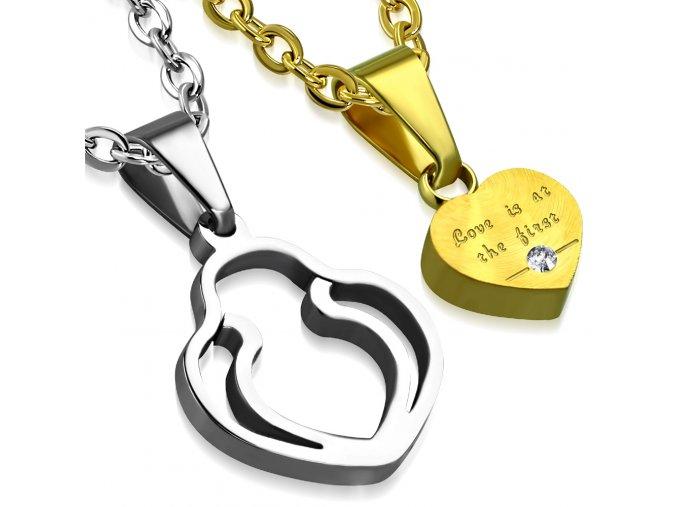 Prívesky pre zamilovaných, oceľ, dvojitý obrys srdca, zirkón