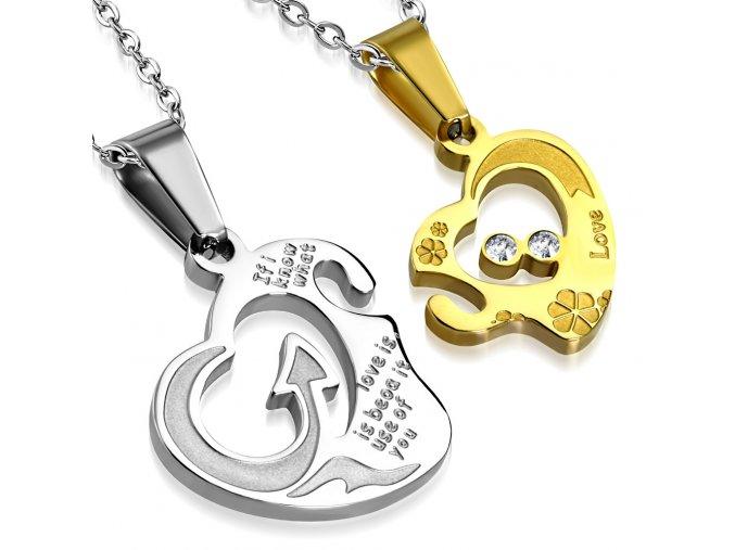 Prívesok pre dvoch so zirkónmi, dva srdcia, oceľ zlatej a striebornej farby
