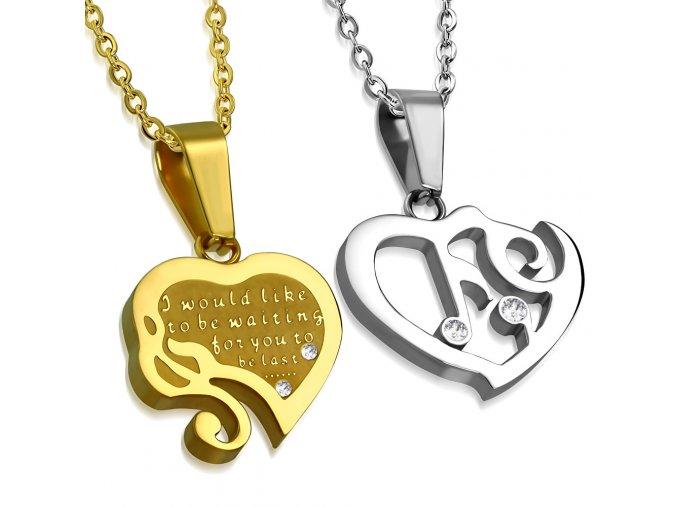 Prívesky pre zamilovaných, dva srdcia a nota, zirkóny, chirurgická oceľ