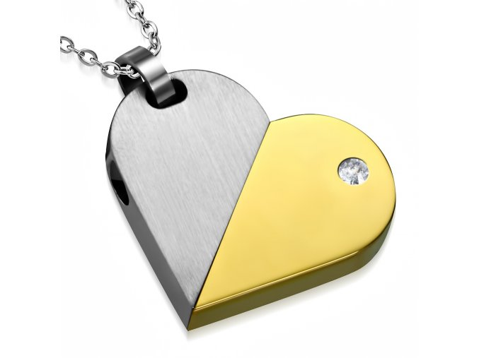 Prívesok srdce alebo známka z ocele, zlatá a strieborná farba