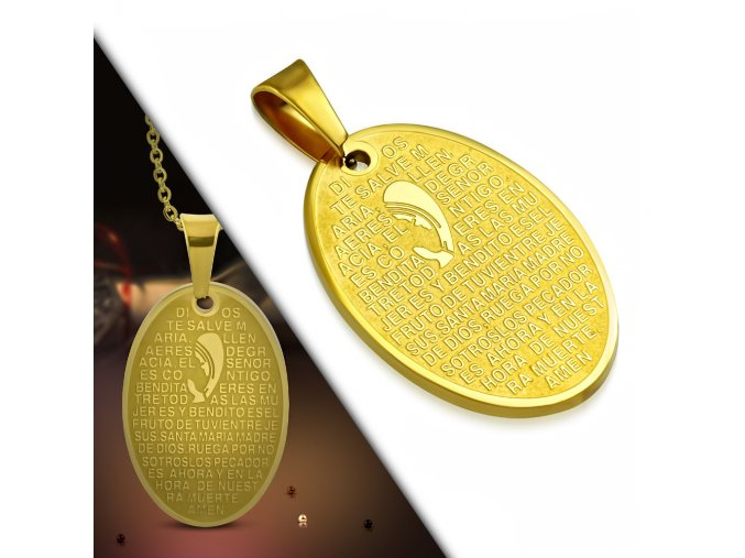 Prívesok z chirurgickej ocele, modlitba, Panna Mária, zlatá farba