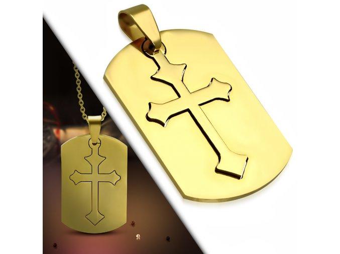 Prívesok známka s ľaliovým krížom, zlatá farba, chirurgická oceľ