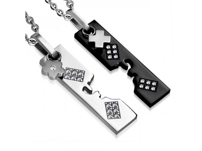 Prívesok pre dvoch so zirkónmi, dve známky, strieborná a čierna farba