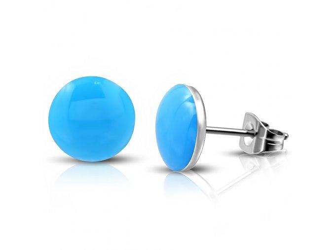 Dámske náušnice z chirurgickej ocele s modrou glazúrou