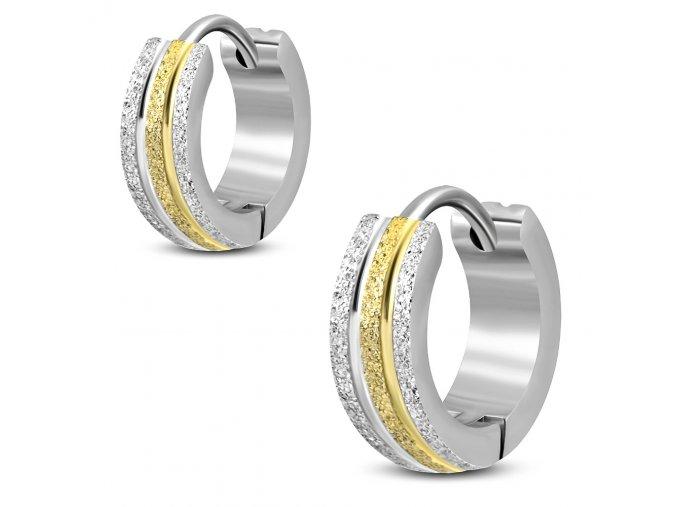 Dámske náušnice z ocele, pieskované pásy, zlatá a strieborná farba