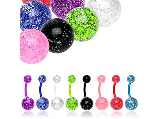 Piercing do brucha z Bioflexu, farebné guličky s trblietkami, UV