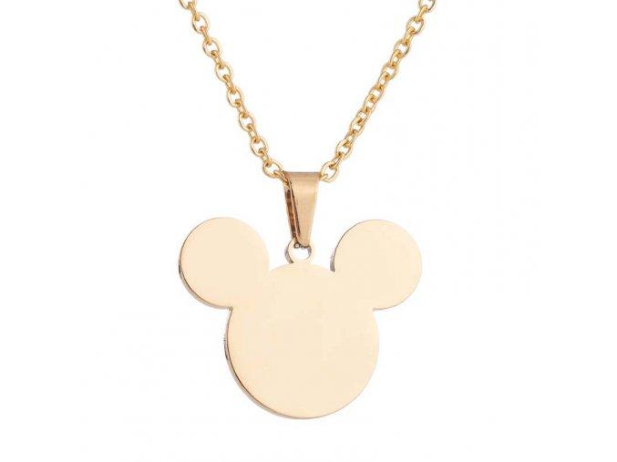 Dámsky prívesok a náušnice, Mickey Mouse zlatej farby, chirurgická oceľ