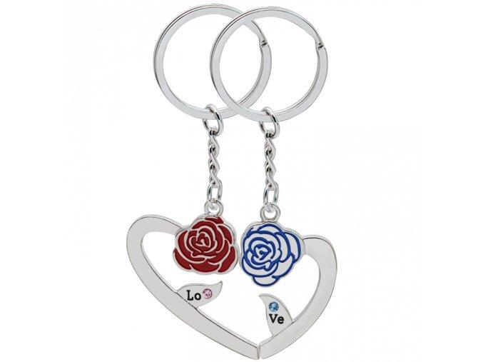 Prívesky na kľúče pre dvoch, srdce a ruže, nápis LOVE, zirkóny