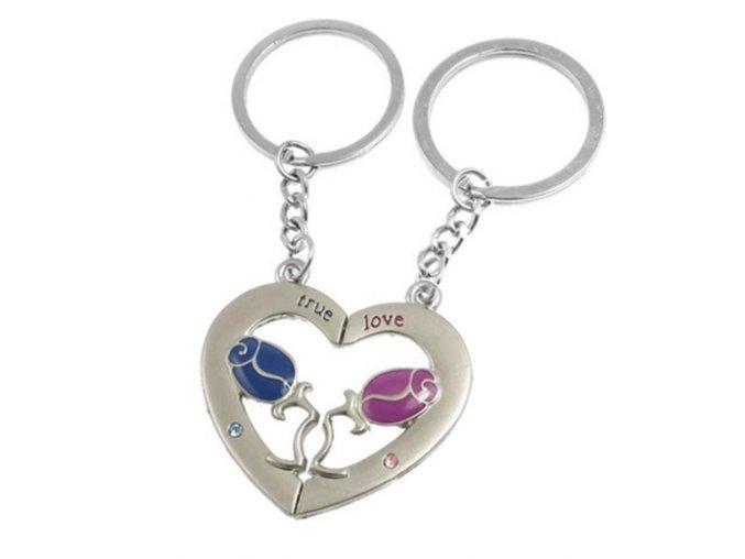 """Prívesky na kľúče pre dvoch, ruže a srdce, nápis """"TRUE LOVE"""", zirkóny"""