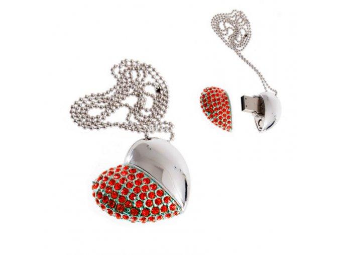USB šperk pre ženu, náhrdelník srdce s červenými zirkónmi 8 GB