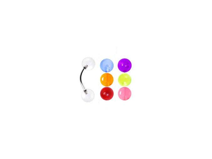 Piercing do obočia, oceľ, transparentná farebná gulička
