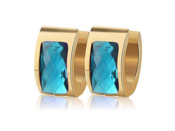 Náušnice pre ženu, akrylový kamienok modrej farby, oceľ