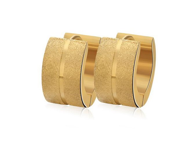 Náušnice z ocele, pieskované pásy a ryha, zlatá farba