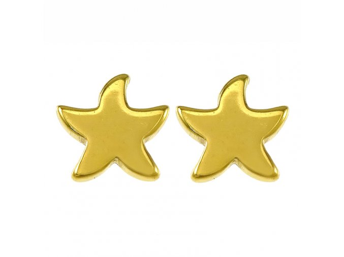 Náušnice pre ženu, hviezda z chirurgickej ocele, zlatá farba