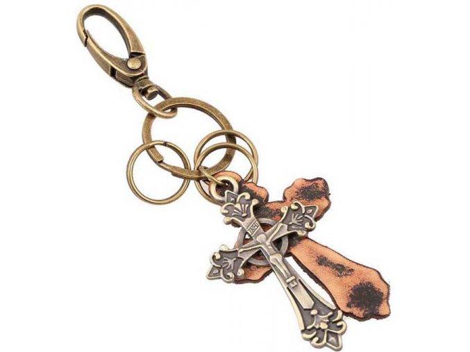 Pánska kľúčenka, kríž a koža, karabínka, bronzová farba