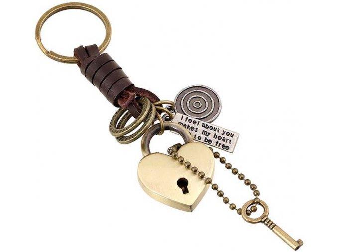 Pánsky prívesok na kľúče, kladka a kľúč, prívesky,koža, bronzová farba