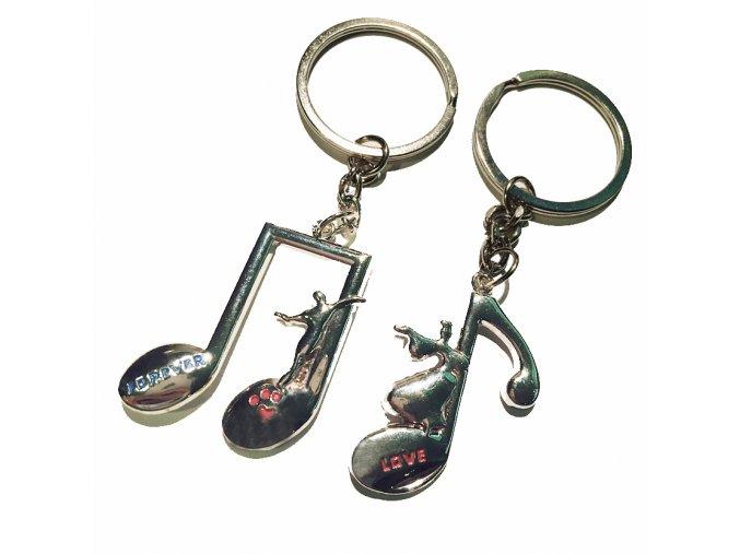 Kľúčenky pre dvoch, noty, žena a muž, nápisy