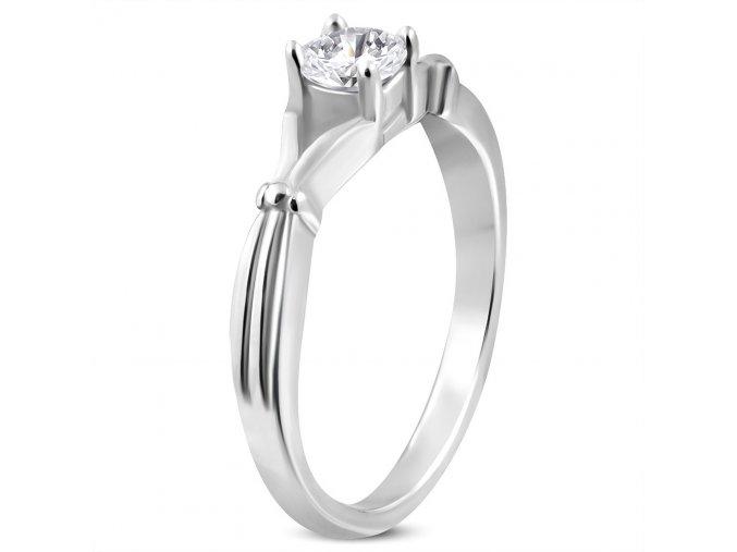 Zásnubný prsteň so zirkónom, strieborná farba, chirurgická oceľ