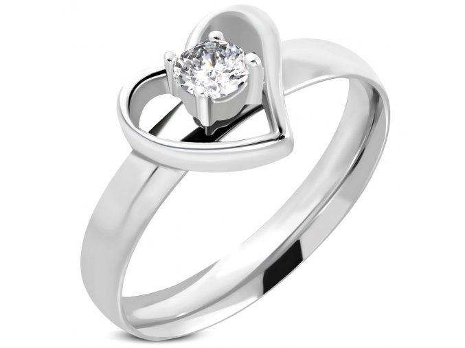 Zásnubný prsteň so zirkónom, srdce, strieborná farba, chirurgická oceľ