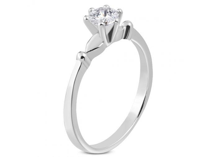 Zásnubný prsteň pre ženu so zirkónom, strieborná farba, chirurgická oceľ