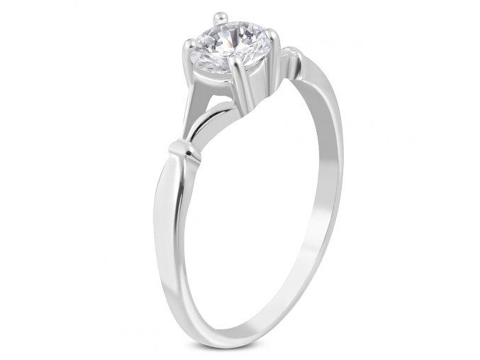 Zásnubný prsteň so zirkónom, chirurgická oceľ, strieborná farba