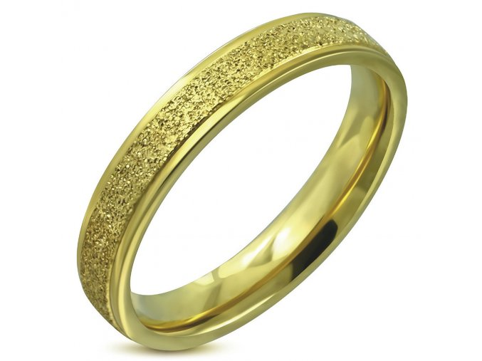 Pieskovaný prsteň z chirurgickej ocele, zlatá farba 5 mm