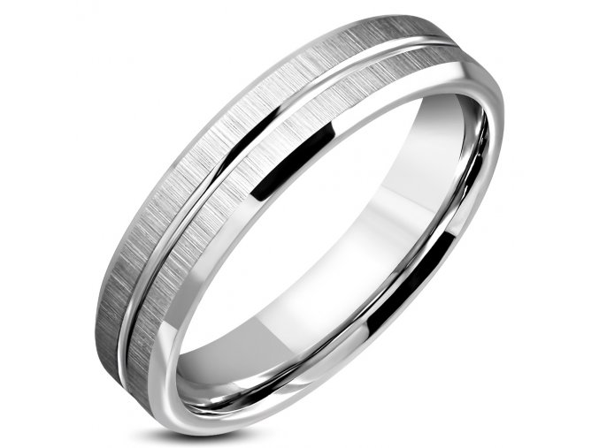Prsteň z ocele, dva satenové pásy, strieborná farba 5 mm