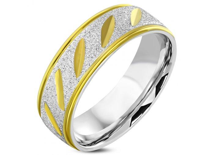 Pieskovaný prsteň z chirurgickej ocele, zlatá a strieborná farba