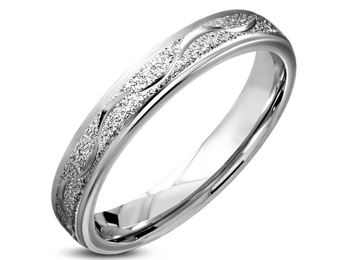 Pieskovaný prsteň z chirurgickej ocele, vlnka, strieborná farba 5 mm