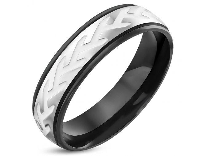Prsteň z chirurgickej ocele, čierna a biela farba, zárezy
