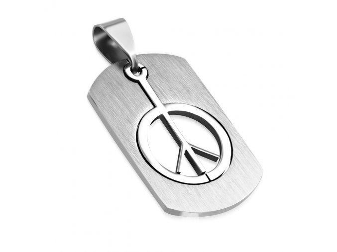 Prívesok Dávidova symbol PEACE, známka, chirurgická oceľ